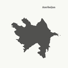 Outline map of Azerbaijan. Isolated vector illustration.