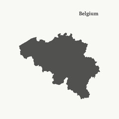 Outline map of Belgium. vector illustration.