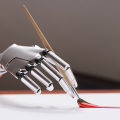 Robotic Arm Painting with Brush Closeup 3d illustration