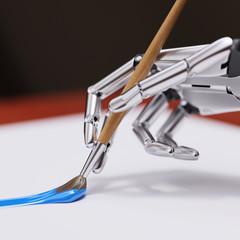Robotic Arm Painting with Brush Closeup 3d illustration