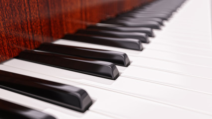 Piano Keyboard Closeup. Music Background Concept 3d Illustration