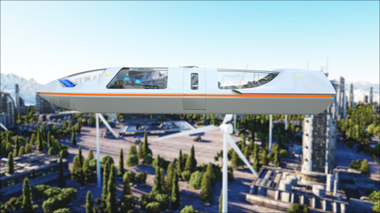 futuristic passenger bus flying over the city, town. Transport of the future. 3d rendering.