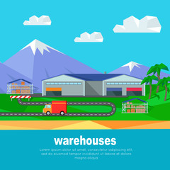 Warehouses in the Mountains Banner. Lorry Track