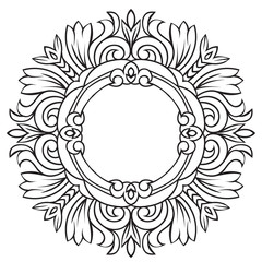 Hand drawing pattern for tile in black and white colors. Italian majolica style