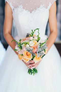 closeup shot of beautiful wedding bouquet