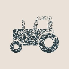 Tractor icon. Simple illustration of tractor vector icon for web design. Grunge style vector illustration
