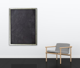 3d interior rendering of blank blackboard frame and wooden armchair