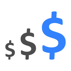 Dollar up. Business icon