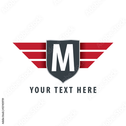 quotinitial letter m shield icon design logo templatequot stock