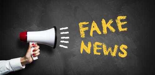 """Hand mit Megafon vor Tafel mit Aufschrift """"Fake News"""""""