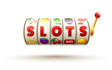 slots 3d element isolated on white with place for text casino ob