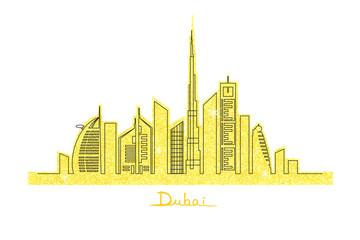 Dubai city on the golden glitter