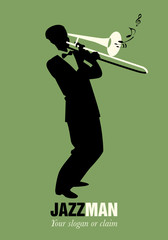 Trombone player playing a song. Musical note