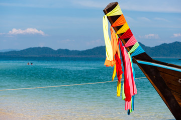 Bow of Thai longtail boat with colorful decoration