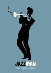 Trumpeter playing a song. Musical note
