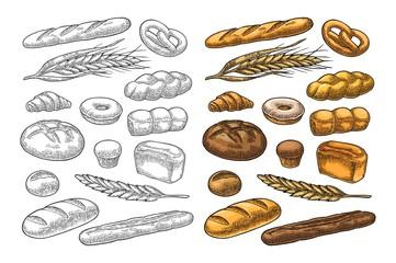 Set bread. Vector color vintage engraving