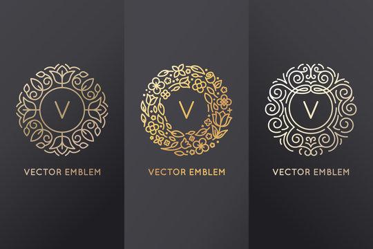 Vector set of logo design templates and monogram frames