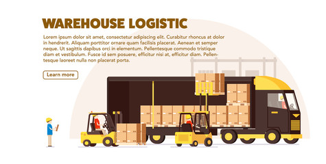 warehouse logistic background car human forklift boxes workers