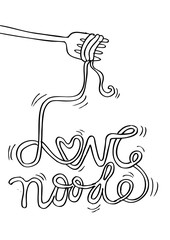 Love noodle lettering with fork.