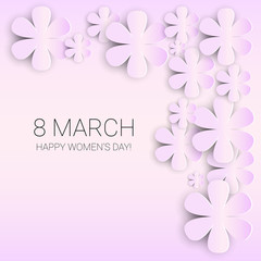 8 March International Women Day Greeting Card Flat Vector Illustration