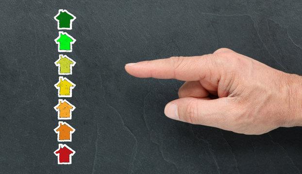 Diagnostic de performance énergétique à la craie et montrer du doigt