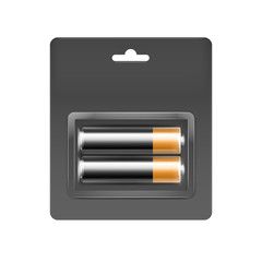 Vector Black Golden Glossy Alkaline AA Batteries in Gray Black Blister Packed for branding Close up Isolated on White Background