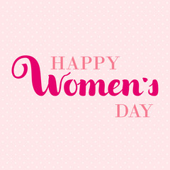 Happy Woman s day gift card. March 8 hand written cursive lettering. Curly calligraphy, vector illustration