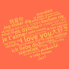 I love you in different language. Words heart. Vector illustration