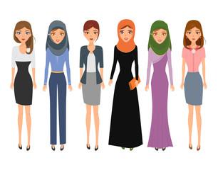 Women people character cartoon. Arab vector.