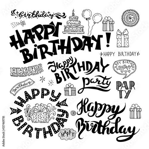 Quot set of happy birthday hand drawn calligraphy pen brush