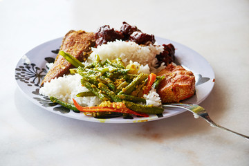 rice with chicken,fish, and spicy asparagus