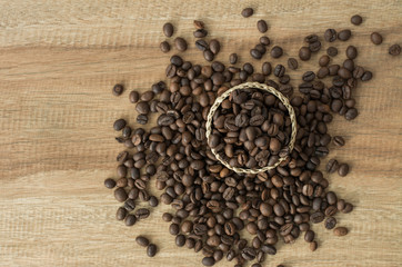 Coffee on grunge wooden background,Background of the roasted coffee and copy space