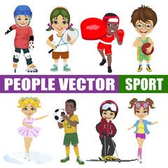 Set of diverse kids. Hockey player, tennis, boxer, basketball, figure skater, soccer, skier, roller
