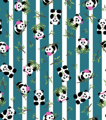 pattern panda bamboo for textile