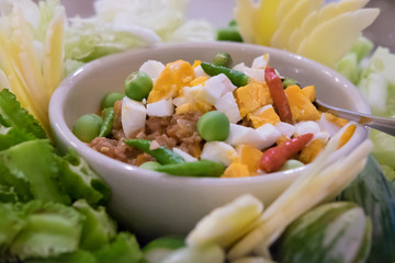 Chilli dip with pork and egg yolk, Thai cuisine