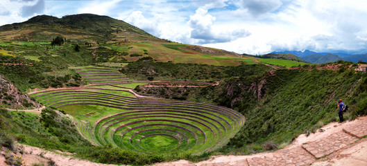 Incans farming laboratory in Moras Moray, Cusco, Peru, emulating Andes various conditions