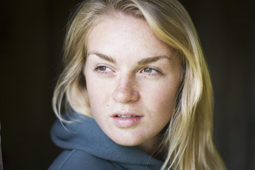 Portrait Of A Young Woman With Blond Hair; False Pass, Alaska, United States Of America