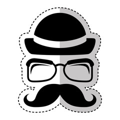 face male hipster style vector illustration design