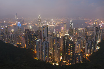 Cityscape seen from Victoria Peak, Hong Kong, China