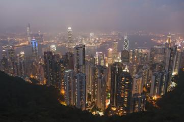 View from Victoria Peak of the island of Hong Kong at night; Hong Kong, China