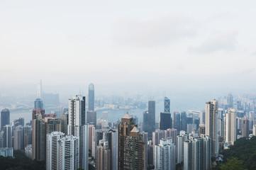 View from Victoria Peak of the island of Hong Kong; Hong Kong, China