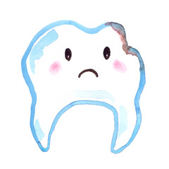 Cartoon damaged tooth with sad face painted in watercolor on clean white background