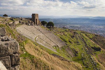 Ruins of the theater in Pergamum, with such good acoustics that a whisper onstage could be heard all the way to the top row; Pergamum, Turkey
