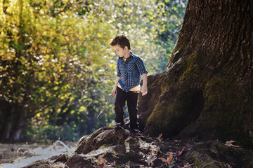 Young boy exploring in a forest beside a large oak tree; Langley, British Columbia, Canada