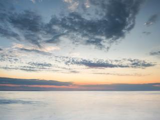 Seascape during sunset. Beautiful natural summer seascape