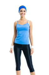 happy smiling woman in sportswear