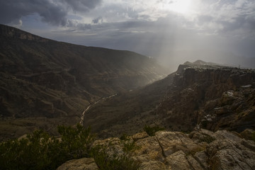 Mountain landscape with shaft of sunlight in the Jabal Akhdar