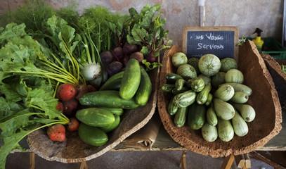 Vegetables on market stall in Bonifacio market