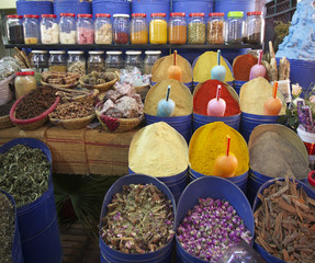 Spices on sale in a spice shop in the Marrakech souk/market
