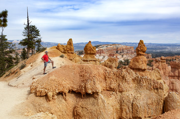 A senior man hikes in Bryce Canyon; Utah, United States of America